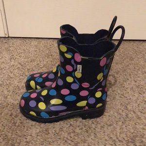 Toms blue polka dot Rainboots toodler size 10